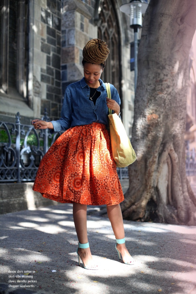 01_cotton_on_denim_shirt_sibu_msimang_african_print_skirt_dorothy_perkins_heels_woolworths_shopper_through_shaded_eyes_by_tokelo_motsepe - Copy