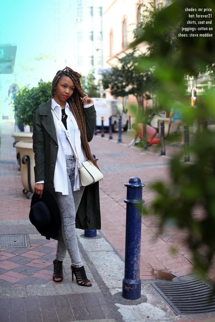 2_white_shirt_striped_shirt_wanted_black_acid_denim_longline_coat_cotton_on_felt_hat_forever21_strappy_heels_steve_madden_michael_kors_bag_through_shaded_eyes - Copy