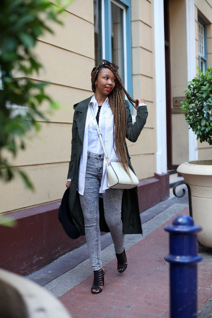 5_white_shirt_striped_shirt_wanted_black_acid_denim_longline_coat_cotton_on_felt_hat_forever21_strappy_heels_steve_madden_michael_kors_bag_through_shaded_eyes_tokelo_motsepe