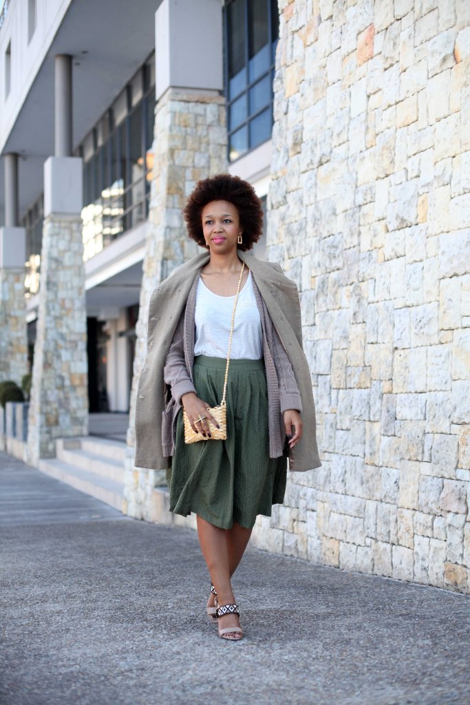 01_layer_lady_olive_green_neautral_tones_natural_afro_hair_topshop_cardi_yde_coat_mrp_midi_skirt_shoestock_shoes_through_shaded_eyes_by_tokelo_mostepe