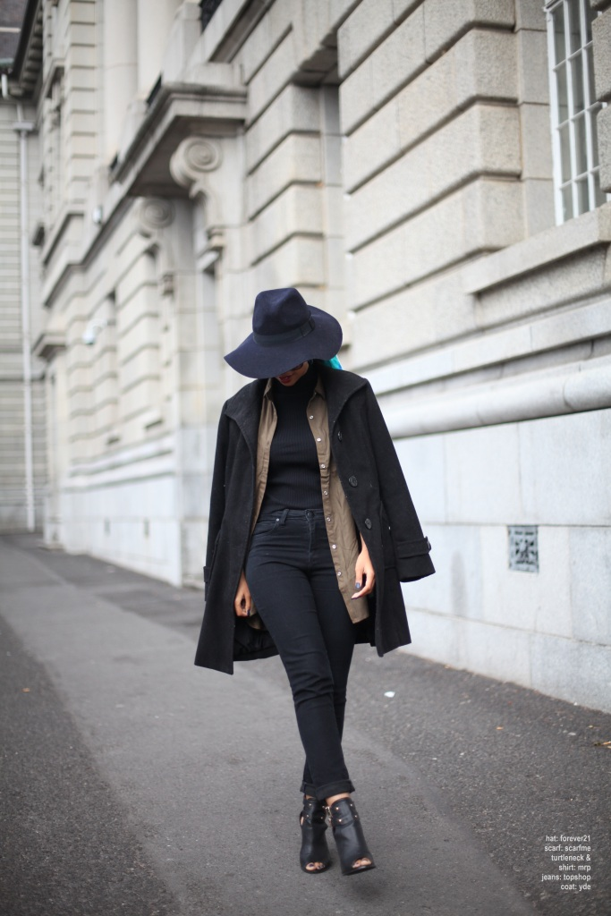 02_poloneck_camo_shirt_highwaist_jeans_chunky_cut_out_ankle_heels_coat_floppy_felt_hat_head_scarf_through_shaded_eyes_by_tokelo_motsepe - Copy